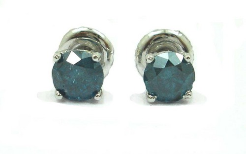 1.01 CT ROUND DIAMOND 14K WHITE GOLD SOLITAIRE STUD EARRINGS