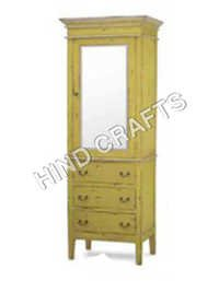 Painted Wooden Cabinet with Glass
