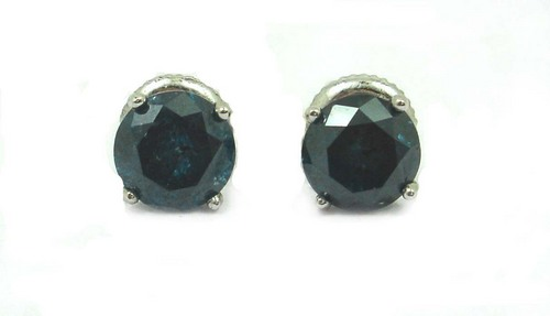 1.92 CT ROUND DIAMOND 14K WHITE GOLD SOLITAIRE STUD EARRINGS