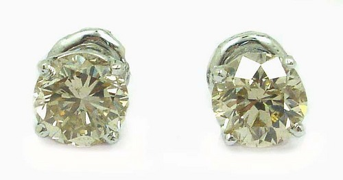 2.01 CT EGL CERTIFIED  ROUND DIAMOND 14K WHITE GOLD SOLITAIRE STUD EARRINGS