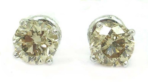 2.07 CT EGL CERTIFIED  ROUND DIAMOND 14K WHITE GOLD SOLITAIRE STUD EARRINGS
