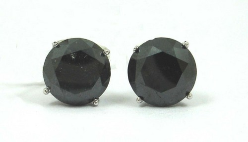 6.58 CT ROUND DIAMOND 14K WHITE GOLD SOLITAIRE STUD EARRINGS