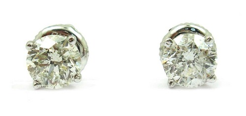 1.41 CT ROUND DIAMOND 14K WHITE GOLD SOLITAIRE STUD EARRINGS
