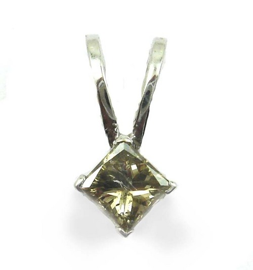 0.55 CT GII CERTIFIED PRINCESS DIAMOND 14K WHITE GOLD SOLITAIRE PENDANT