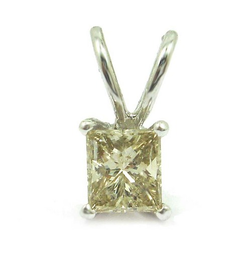 0.65 CT EGL CERTIFIED PRINCESS DIAMOND 14K WHITE GOLD SOLITAIRE PENDANT