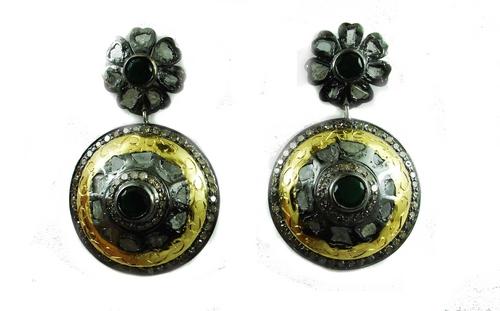 6.58 REAL DIAMOND EMERALD EARRING