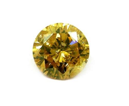 0.99 CT FANCY GREENISH ORANGE ROUND LOOSE DIAMOND