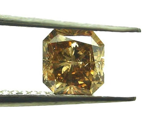 1.03 CT YELLOWISH BROWN ASSCHER CUT DIAMOND