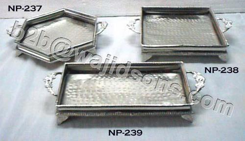 Square Tray with handle hammered Nickel Plated with feet