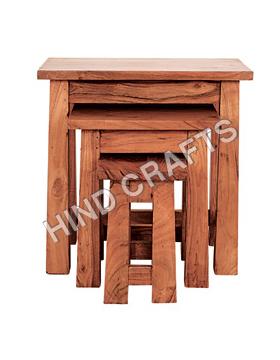 Nesting Wooden Table Set