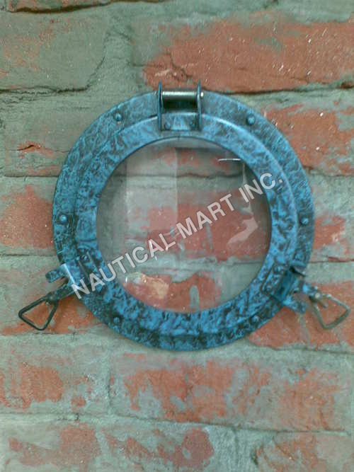 NAUTICAL BRASS PORTHOLE DARK GREEN