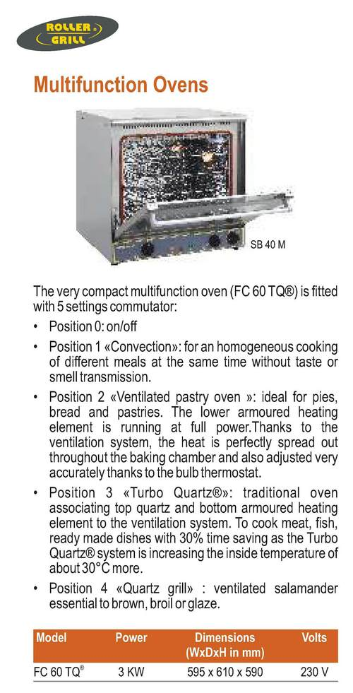 Multifunction Oven Roller Grill FC 60 TQ