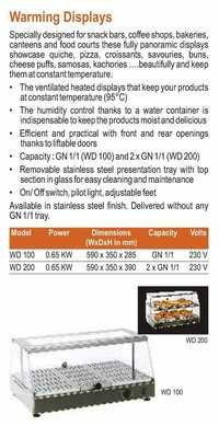 Warming Display Showcase - Roller Grill - WD-100