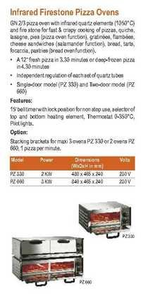 Infrared Firestone Pizza Ovens- Roller Grill - PZ 330