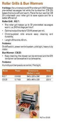 Hot Dog Griller & Bun Warmer Roller Grill Rb 7 & Cb 20
