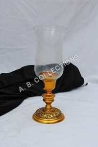 Golden embossed glass Candle Stand