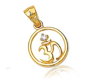 Avsar Real Gold and Diamond 'Om' Symbol of God Pendant # AVP001