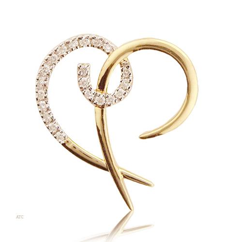 Avsar Real Gold and Diamond Heart Pendant # AVP003