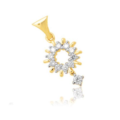 Avsar Real Gold and Diamond Sunrise Pendant # AVP008