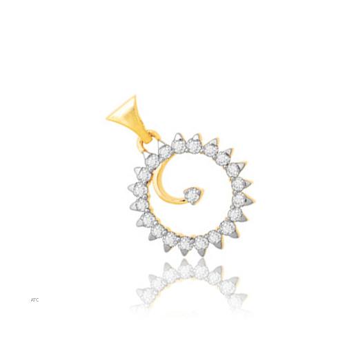 Avsar Real Gold and Diamond Sudarshan Chakra Pendant # AVP013