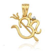 Avsar Real Gold and Diamond Om Trishul Pendant # AVP017