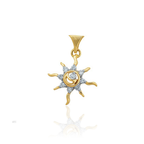 Avsar Real Gold and Diamond  'Sun' Pendant # AVP019