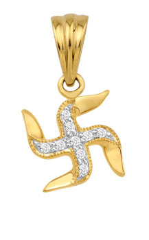 Avsar Real Gold and Diamond Swastik Pendant # AVP021