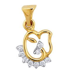 Avsar Real Gold and Diamond Elephant Ganesh Pendant # AVP022