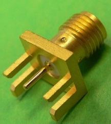 SMA female straight PCB edge connector