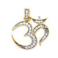 Avsar Real Gold and Diamond Twenty Eight Stone Om Pendants # AVP033