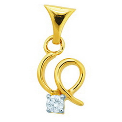 Avsar Real Gold and Diamond Solitaire Pendant # AVP039