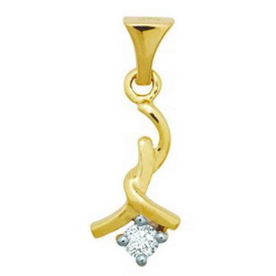 Avsar Real Gold and Diamond One Stone Fancy Pendant # AVP040