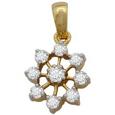 Avsar Real Gold and Diamond Beautiful Star Circular Shape Pendant # AVP045
