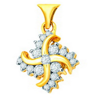 Avsar Real Gold and Diamond Ganesh Swastik Shape Pendant # AVP046
