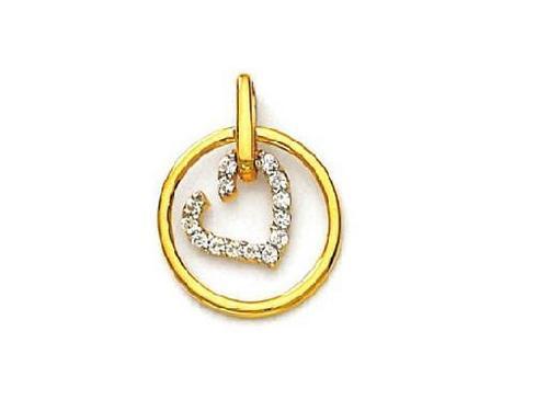 Avsar Real Gold and Diamond Round into Heart Shape Pendant # AVP048