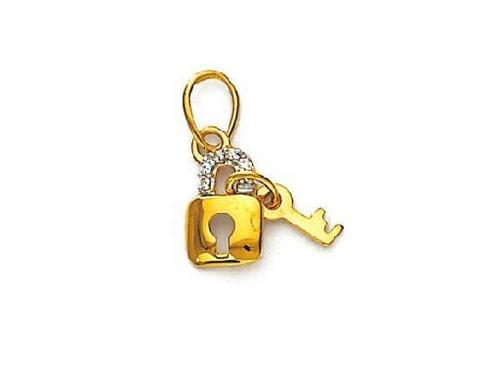 Avsar Real Gold and Diamond Lock & Key Shape Pendant # AVP053