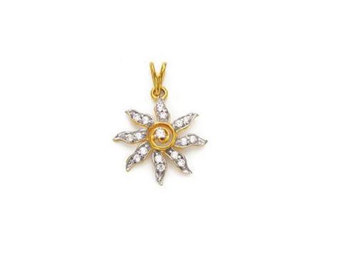 Avsar Real Gold and Diamond Beautiful Bright Sun Flower Pedant # AVP056