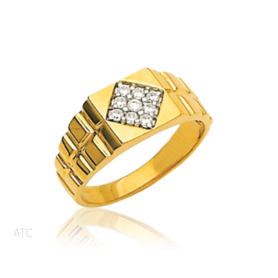 Avsar Real Gold and Diamond Rolex-Look Gents Ring # AVR002