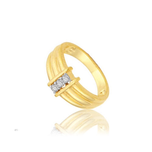 Avsar Real Gold and Diamond Three Stone Gents Ring # AVR004