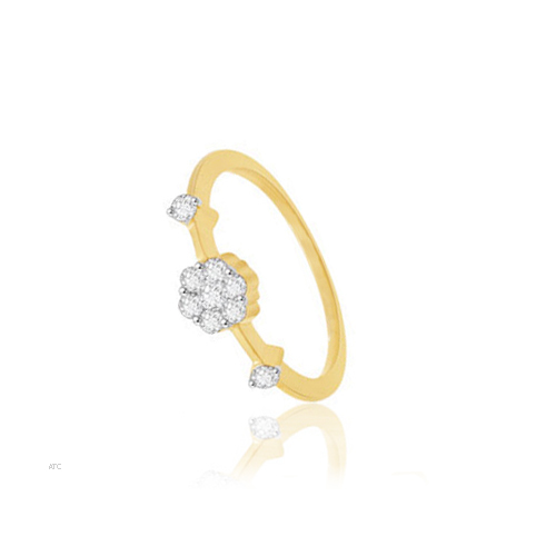 Avsar Real Gold and Diamond  Pressure-Set Ladies Ring # AVR005