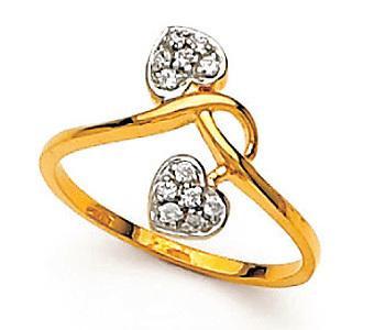 Avsar Real Gold and Diamond Twins Heart Shape Ring # AVR029