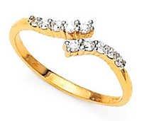 Avsar Real Gold and Diamond Ten Stone Two Way Shape Fancy Ring # AVR030