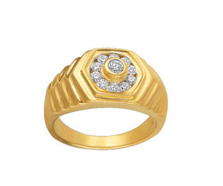 Avsar Real Gold and Diamond  Gents Ring # AVR031