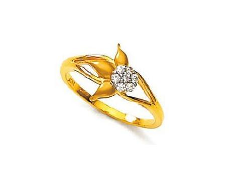 Avsar Real Gold and Diamond Beautiful Flowe With Leaves Shape Ring # AVR039