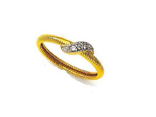 Avsar Real Gold and Diamond Simple Curve Shape Ring # AVR044