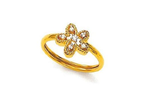 Avsar Real Gold and Diamond Flower Ring # AVR045