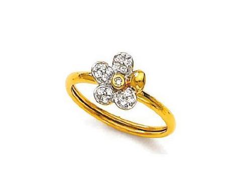 Avsar Real Gold and Diamond Flower Band  Ring # AVR046