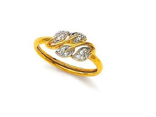 Avsar Real Gold and Diamond Leaves Shape Ring # AVR049