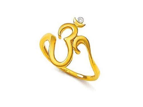 Avsar Real Gold and Diamond Divine Om Ring # AVR059