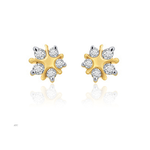 Avsar Real Gold and Diamond Fancy Star Shaped Earrings # AVE006